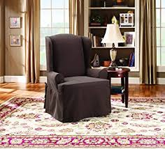sure fit twill supreme wing chair slipcover coffee sf37743