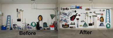 Before And After DIY Garage Organization Ideas With Mounted Pegboard Garage  Bike Hooks And Small Overhead Storage Ideas