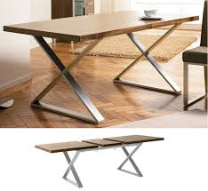 ... Dining Tables, Cool Light Brown Rectangle Modern Metal Extendable  Dining Table Varnished Design: modern