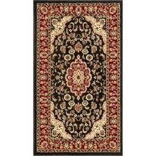 barclay medallion kashan black 2 ft x 4 ft traditional area rug