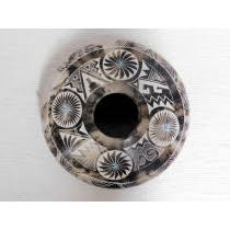 navajo pottery designs. Native American Made Ceramic Fine Etched Horsehair Seed Pot Navajo Pottery Designs