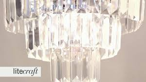 prism 3 tier crystal flush ceiling light chrome and glass litecraft lighting your home