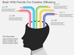 Creative Design Templates Brain With Pencils For Creative Efficiency Powerpoint Template