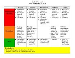 Homework Chart Week Of 2 25 P S I S 78q Home Connect