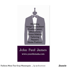 Tailors Visiting Card Design Fashion Mens Tux Gray Mannequin Stylist Business Card