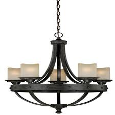 vaxcel lighting h0135 halifax 5 light chandelier in aged walnut with creme cognac glass