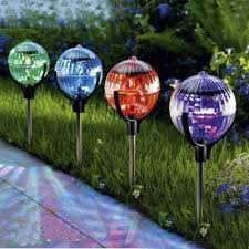 color changing solar powered led crystal ball 3 wide outdoor garden stake landscape lighting