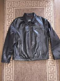 mauritius men genuine leather biker jacket brown size l