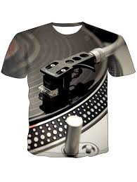 <b>Male Sound Instrument</b> Turntable Printed 3D Short Sleeve T-shirt ...
