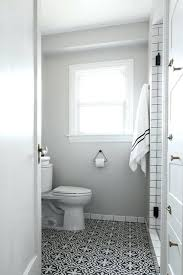 white subway tile gray grout bathroom and with black cement floor tiles inside ideas