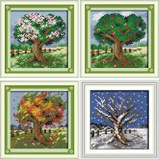 Us 5 08 42 Off Joy Sunday Four Seasons Trees Cross Stitch Pattern Kits Handcraft Make Embroidery With Chart In Package From Home Garden On