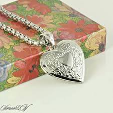 details about stainless steel design heart locket pendant necklace smooth box chain 24 las