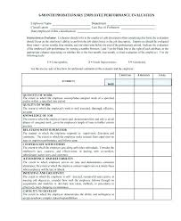 Job Evaluation Template Simple Staff Review Form Template Performance Employee Evaluation Free Self