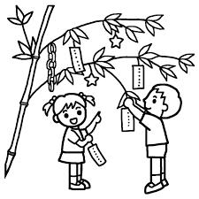 笹に飾りつけ白黒七夕たなばたの無料イラスト夏の季節行事保育素材