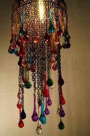 coloured glass tear drop chandelier close up