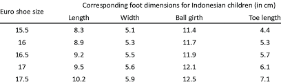 Shoe Size Chart And The Corresponding Dimensions For