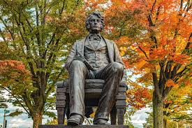 Cambridge Massachusetts Charles Sumner Statue in Autumn Photograph by  Gregory Ballos