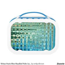 the urban oasis blue handled yubo lunch box designed by artist c l brown features an abstract kinetic light painting design enhanced with photo