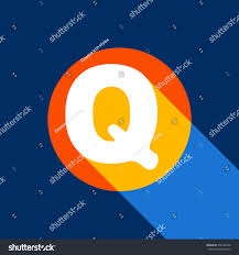 Letter Q sign design template element. Vector. White icon on tangelo circle  with infinite