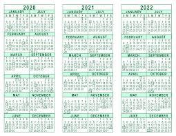 2020 Year At A Glance Calendar Template 2020 2021 2022 3 Year Calendar