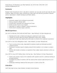 resume templates salon receptionist