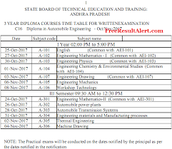 ap sbtet diploma time table oct nov official c c  sbtet ap time table 2017