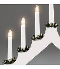 chandelier de noël en bois à bougie électrique blanc