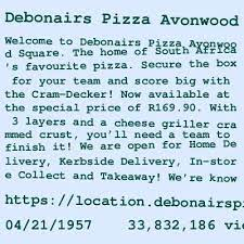 debonairs pizza norwood contact details