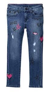 True Religion Kids Womens Casey Doodle Jeans In Super Shredded Toddler Little Kids