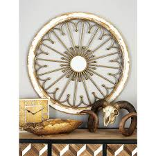 wood iron and mirror distressed white and brown radial pattern design with inlaid center on rustic white wood wall art with wood iron and mirror distressed white and brown radial pattern