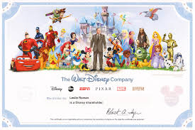 the walt disney pany collectible shareholder certificate