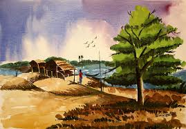 kasana painting village landscape of desh 2 by shakhenabat kasana