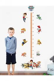 Wall Measuring Chart Waterproof Cartoon Paw Patrol Growth Chart Height Measuring Wall Decal