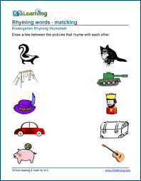 Th sound words worksheets for kindergarten and first grade. Free Preschool Kindergarten Rhyming Worksheets Printable K5 Learning