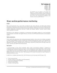 Tip 0404 33 Dryer Section Performance Monitoring