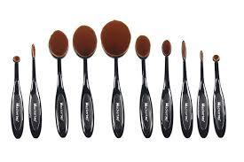 amazon 10 pcs soft oval makeup brush set foundation brushes cream contour powder blush concealer brush makeup cosmetics tool set beauty