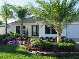 Landscape, Extraodinary Green Square Rustic Grass Home Landscaping Ideas  Ornamental Coconut Tree And Flower Ideas