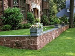 brownstone and brick retaining wall