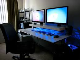 the best office desk. dual screens blue leds and a diy desk shelf the best office
