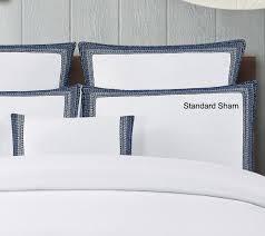 echelon home sofia embroidered belgian linen duvet cover set full queen indigo blue