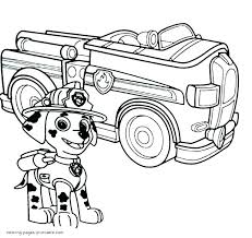 Paw Patrol Coloring Pages Page Easy Chase And Marshall Colouring C