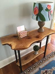 live edge entryway table console table sofa table rustic mid century modern white oak wood slab double shelf hallway table