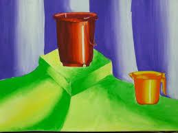 still life painting bucket mug
