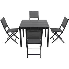 cambridge nova 5 piece aluminum outdoor dining set with 4 sling folding chairs and