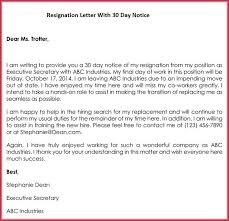 free sle of 30 day notice resignation letter templates