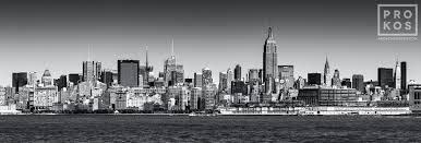 a black and white panoramic skyline of new york city and the hudson river available