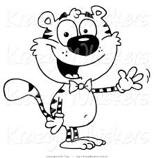 Small Picture Critter Clipart of a Coloring Page of a Tiger Wearing a Bow Tie