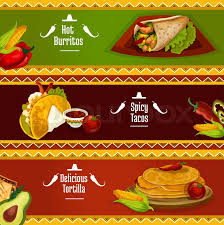 mexican food menu design. Exellent Menu Mexican Cuisine Spicy Tacos Burrito And Tortilla Banners With Traditional  Corn Pancake Sandwiches Filled Meat Vegetables Herbs Served Tomato  For Food Menu Design A
