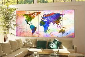map of decor wall art world map print on canvas wall art wall art world