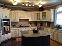 Painting Over Kitchen Cabinets Painted Maple Cabinets Antique White Almond Added Light Rail At